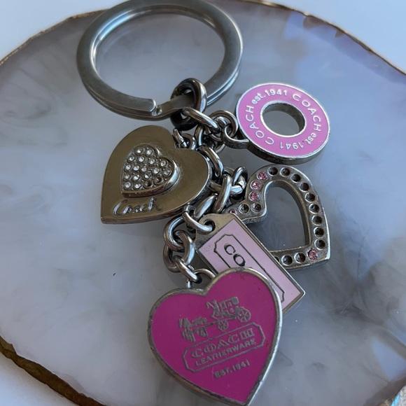 Coach Heart Keychain missing rhinestones as is
